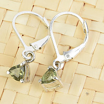 Moldavite trigon mini earrings 4 x 4mm standard Ag 925/1000