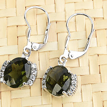 Moldavite earrings oval with zircons 10 x 8mm checker top Ag 925/1000 + Rh
