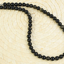 Obsidian silver necklace balls 8mm 47cm