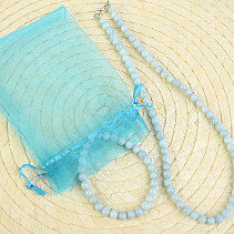 Aquamarine beads 6mm jewelry set - necklace 48cm + bracelet