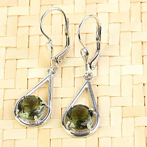 Moldavite earrings 7mm standard cut Ag 925/1000 + Rh