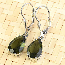Moldavite earrings drop 12 x 8 mm standard brush Ag 925/1000 + Rh