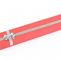 Gift box red with silver bow 20.5 x 4.4cm