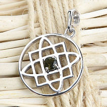 The Moldavite pendant of the goddess Ag 925/1000 + Rh