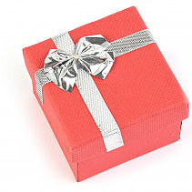 Gift box paper red with silver bow 5 x 5cm