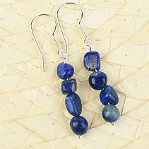 Lapis lazuli troml earrings Ag hooks