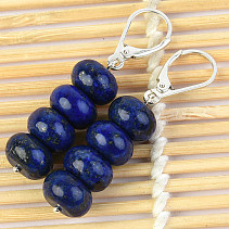 Lapis lazuli earrings buttons 10mm Ag silver fastening