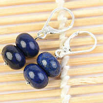 Lapis lazuli earrings buttons 10mm Ag fastening