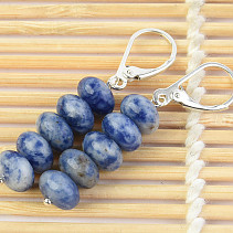 Sodalite Button Earrings 8mm Ag Closing Hooks