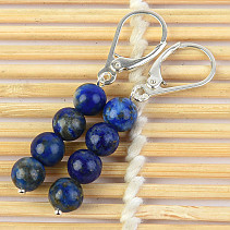 Earrings lapis lazuli balls 6mm Ag hooks