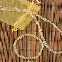 Gift set of citrine jewelry bracelet + necklace 45cm buttonsy brus