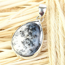 Silver pendant agate with dendrites drop Ag 925/1000 4.2g