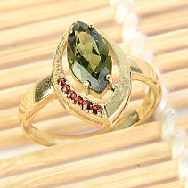 Moldavite and garnets ring (size 57) 14K Au 585/1000 4,10g