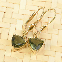 Gold earrings moldavite trigon 7 x 7mm standard brus 14K Au 585/1000 2.58g