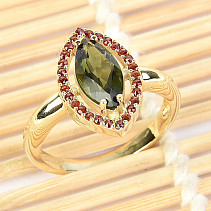 Moldavite and garnets ring (size 60) 14K Au 585/1000 4,77g