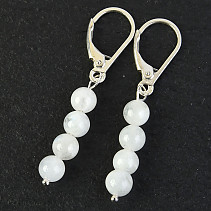 Moonstone Earring Mini Ball 5mm Ag Hooks