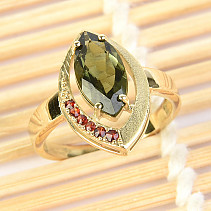 Moldavite and garnets ring (size 54) 14K Au 585/1000 4.03g