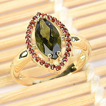 Moldavite and garnets ring (size 56) 14K Au 585/1000 4,58g
