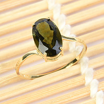 Moldavite ring oval standard brush (size 57) 14K gold Au 585/1000 1,76g
