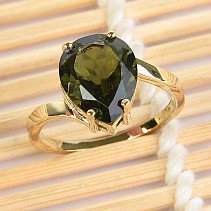 Moldavite ring drop 11 x 9mm standard brus (size 53) 14K gold Au 585/1000 3,26g