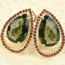 Flower earrings and garnet earrings drop bigger gold Au 585/1000 8.23g