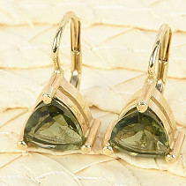 Gold earrings moldavite trigon 8 x 8mm standard brus 14K Au 585/1000 3.84g