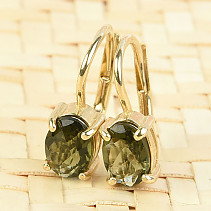 Moldavite earrings gold checker top oval 7 x 5mm Au 585/1000 14K 2,04g