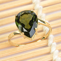 Moldavite ring drop standard brush (size 54) 14K gold Au 585/1000 2,82g