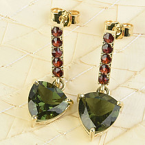 Moldavite and garnets earrings 8 x 8mm gold Au 585/1000 3.49g