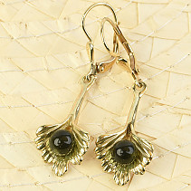 Gold earrings with moldavite on flower Au 585/1000 14K
