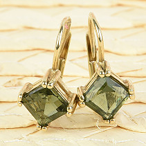 Gold earrings lilac diamond 6 x 6mm standard abrasive Au 585/1000 14K 2.61g