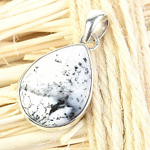 Silver pendant agate with dendrites drop Ag 925/1000 3.7g