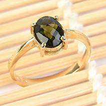 Moldavite ring oval checker top brush (size 56) 14K gold Au 585/1000 2,89g