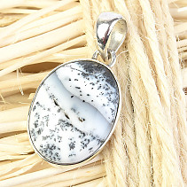 Oval pendant agate with dendritic Ag 925/1000 3.7g