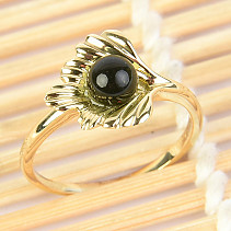 Moldavite ring with ball (size 55) 14K gold Au 585/1000 3,27g