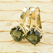Gold earrings moldavite trigon 8 x 8mm standard brus 14K Au 585/1000