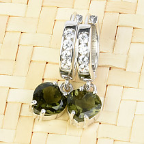 Moldavite and cubic zircons heart 7 x 7 mm earrings Ag 925/1000 + Rh