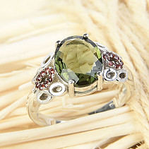 Moldavite and garnets ring 9 x 11mm standard brush Ag 925/1000 + Rh