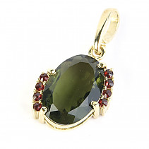 Moldavite and garnet pendant oval 13 x 9mm standard brus gold 2.83g