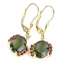 Moldavite and garnets luxury earrings oval 10 x 8mm gold standard Au 585/1000 14K