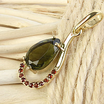Moldavite and garnets gold pendant gold drop Au 585/1000 1.78g