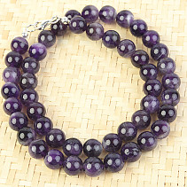 Amethyst necklace balls 10mm 50cm