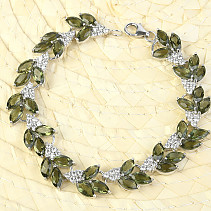 Luxury bracelet of moldavite and zircons 20cm standard Ag 925/1000 + Rh 21.96g