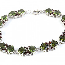 Luxury bracelet of moldavite and garnets 18cm standard Ag 925/1000 + Rh 15.93g