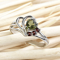 Moldavite and garnets ring heart 5 x 5 mm standard brush Ag 925/1000 + Rh