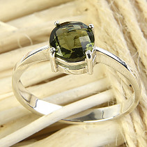 Round Moldavite ring 7mm checker brush Ag 925/1000 + Rh