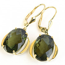 Moldavite earrings oval 15 x 10mm checker top brus Au Au Pair 585/1000 14K 5.25g