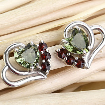 Flower earrings and garnet earrings heart 5 x 5mm standard Ag 925/1000 + Rh