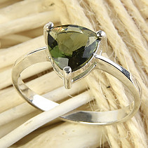Moldavite ring 8mm standard brush Ag 925/1000 + Rh
