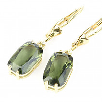 Moldavite earrings rectangle 9 x 7mm standard brus 14K Au 585/1000 3.13g